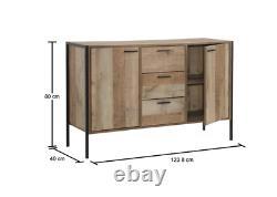 Industrial Storage Sideboard Rustic Oak Cupboard Metal Side Cabinet Large Door