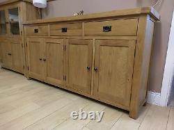 Kingsford Solid Oak Large Wide 4 Door 3 Drawer Sideboard / Wide Cabinet Storage