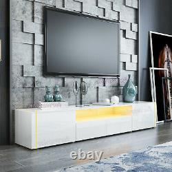 LED TV Unit Cabinet Large Storage Sideboard High Gloss Front Body Drawers Door