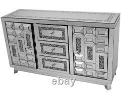 Large 3 drawer 2 door crushed diamond mirrored sideboard, glitz sparkle unit