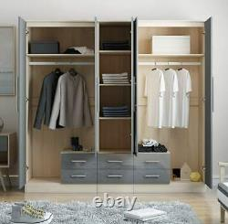 Large 5 Door Mirrored HIGH GLOSS GREY Wardrobe, Bed side, Chest Drawers Set