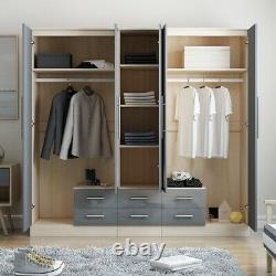 Large 5 Door mirrored HIGH GLOSS GREY fitment wardrobe, 6 drawer, FREE SHIPPING