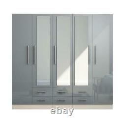Large 5 door high gloss mirrored fitment wardrobe GREY 6 Drawer NEW COLOUR