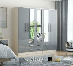 Large 5 door high gloss mirrored wardrobe GREY gloss 6 Drawer NEW COLOUR