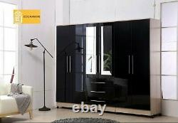 Large 6 Door mirrored HIGH GLOSS BLACK fitment wardrobe, 3 drawer, FREE SHIPPING