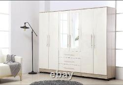 Large 6 Door mirrored HIGH GLOSS WHITE fitment wardrobe, 3 drawer, FREE SHIPPING