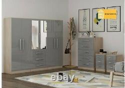 Large 6 door bedroom set, wardrobe, Chest, 2 x Bedside drawer, BLACK/WHITE/GREY