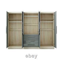 Large 6 door high gloss mirrored wardrobe Grey, - 3 Drawers
