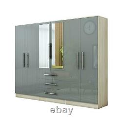 Large 6 door high gloss mirrored wardrobe Grey, Black, White 3 Drawer