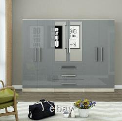 Large 6 door mirrored HIGH GLOSS fitment wardrobe, 3 drawer, BLACK/WHITE/GREY