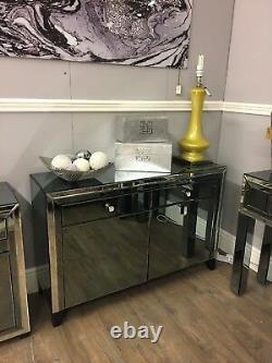 Large Arctic Noir Mirror Trim 2 Drawer 2 Door Cabinet Sideboard Storage Cupboard