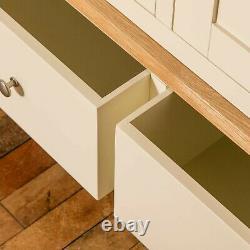 Large Cream Triple Wardrobe 3 Doors 2 Drawers Painted Solid Wood Storage Farrow