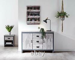 Large Grey Sideboard Storage Unit 2 Drawers 3 Doors Metal Handles Industrial