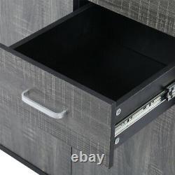Large Grey Sideboard Storage Unit Cupboard with 2 Drawers 3 Doors Metal Handles