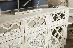 Large Hampton 3 Door 3 Drawer Cabinet Sideboard Washed Ash Wood And Mirror