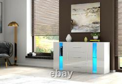 Large High Gloss Front 2 Doors 3 Drawer Sideboard Cupboard Cabinet Home FREE LED