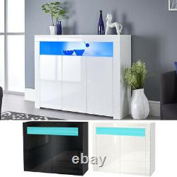 Large High Gloss Sideboard Cabinet Cupboard Buffet Drawers 2/3 Doors + LED Light
