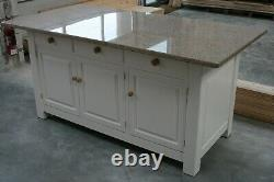 Large Kitchen Island with doors and drawers, slatted shelf and seating overhang