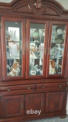 Large Mahogany Display Dresser Wall Cabinet Unit