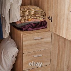 Large Modern 3 Door 3 Drawer Wardrobe Oak Home Bedroom Storage Unit UK