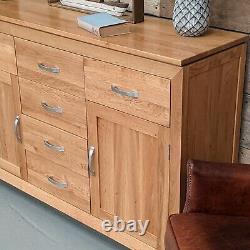 Large Oak Sideboard Solid Oak 6 Drawer 2 Door Storage Cupboard 100% Solid Oak