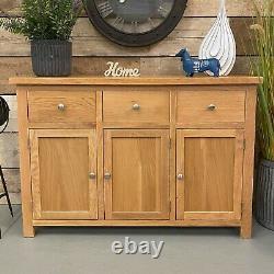 Large Oak Sideboard Solid Wood Storage Cupboard Buffet 3 Drawer 3 Door / Oakwood
