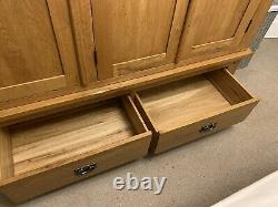 Large Oak Wardrobe 3 Door, 2 Drawers, Clothes Rail. Very Solid, Heavy