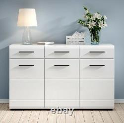 Large Sideboard Cabinet High Gloss White Doors Drawers Black accents NEW Fever
