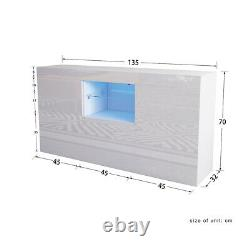 Large Sideboard High Gloss 2 Doors 1 Drawers White Cabinets Cupboard LED Lights