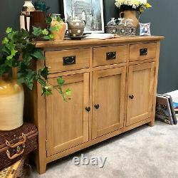 Large Sideboard Oak Storage Cupboard Wide Sideboard 2 Door 2 Drawer Wood Linear
