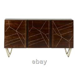 Large Sideboard with 2 Doors and 3 Drawers Dark Mango Wood and Gold Metal Legs