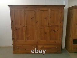 Large Solid Pine 4 Door Wardrobe With Drawers Collection Only Open to Offers