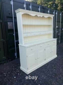 Large Solid Pine Farmhouse Welsh Dresser Sideboard 4 Drawers 4 Cupboard Doors