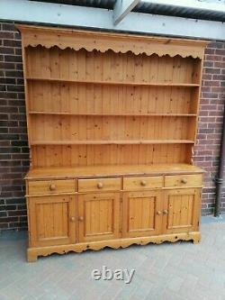 Large Solid Pine Welsh Dresser Display Cabinet Sideboard Country Kitchen Style