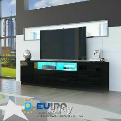 Large TV Unit Cabinet 200 CM WIDTH High Gloss Drawers Doors TV Stand + LED Light