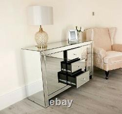 Large Venetian Mirrored Sideboard Cupboard Cabinet Door Drawers Glass Furniture
