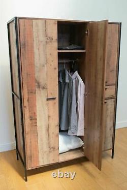 Large Wardrobe with Drawer Industrial Wardrobe Urban 4 Door Rustic Metal Frame