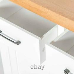 Large White Sideboard Buffet Storage Cabinet Oak Top 2 Drawer 3 Door Chatsworth
