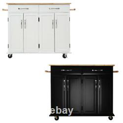 Large Wood Kitchen Island Trolley Cart Storage Cabinet Door Cupboard with Drawer
