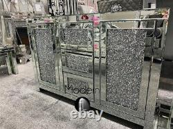Large contemporary 3 drawer 2 door crushed diamond sideboard EXPRESS DELIVERY