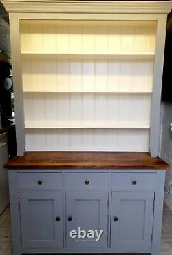 Large pine painted 3 door, 3 drawer dresser with shelves