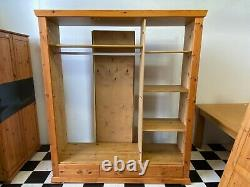 Large solid pine triple door wardrobe with three drawers four shelves Delivery