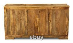 Light Mango Wood Large 3 Drawer Sideboard (h24l)