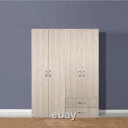 Light Oak Large 4 Door 2 Drawer Combination Wardrobe. Incredible 7 Year Warranty