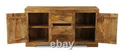 Light Solid Mango Wood Large 3 Drawer Sideboard (h24l)