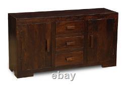 Living Room Furniture Dark Mango Wood Large 3 Drawer Sideboard (h24d)