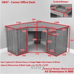 London Solid Oak Corner Home Office Desk Large 2 Doors Cupboard Drawers UK47