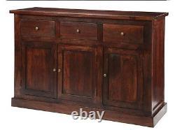 Maharani Mango Dark Wood Large Sideboard 3 Drawer 3 Door Dining Room Furniture