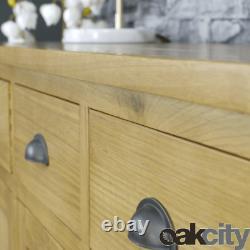 Milan Oak Sideboard Large 3 Door 3 Drawer Cabinet Rustic Medium Wood Tone