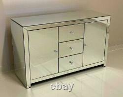 Mirrored Sideboard Large Modern Drawers Mirrored 4 Door Venetian Glass Cupboard